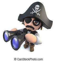 3d Funny cartoon pirate captain looking through binoculars -...