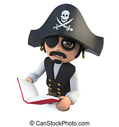 3d Funny cartoon pirate captain reading a book - 3d render...
