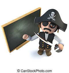 3d Funny cartoon pirate captain standing at a blackboard -...