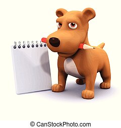 3d Funny cartoon puppy dog with notepad`