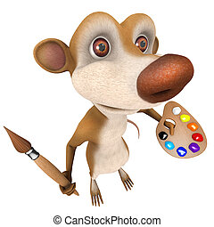 3d Funny cartoon rat char marsupial character painting with...