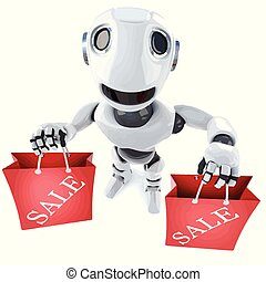 3d Funny cartoon robot character carrying two shopping sale bags