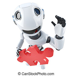 3d Funny cartoon robot character holding a piece of the jigsaw puzzle