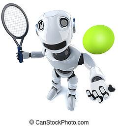 3d Funny cartoon robot character playing tennis