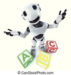 3d Funny cartoon robot using alphabet blocks