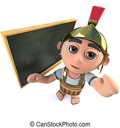 3d Funny cartoon Roman soldier gladiator standing in front of blackboard