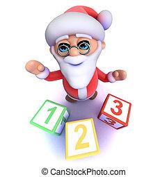 3d Funny cartoon Santa Claus using counting blocks