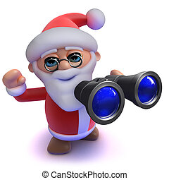 3d Funny cartoon Santa Claus using his binoculars