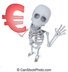 3d Funny cartoon skeleton character holding a Euro currency symbol