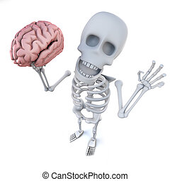 3d Funny cartoon skeleton character holding a human brain