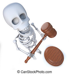 3d Funny cartoon skeleton holding an auction