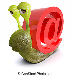 3d Funny cartoon snail with an internet email address symbol