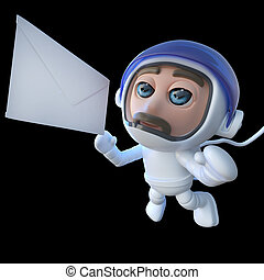 3d Funny cartoon spaceman astronaut character chasing a message in space