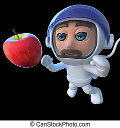 3d Funny cartoon spaceman astronaut looking at an apple in space