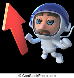 3d Funny cartoon spaceman astronaut looking at an arrow in space.
