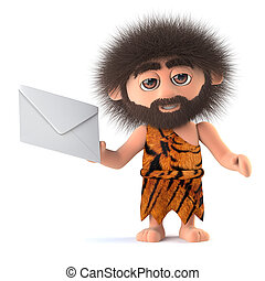 3d Funny cartoon tribal caveman stone age character has mail