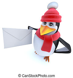 3d Funny cartoon winter penguin holding an mail envelope