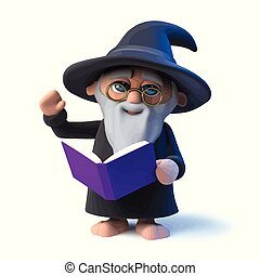3d Funny cartoon wizard character reads from his book magic spells