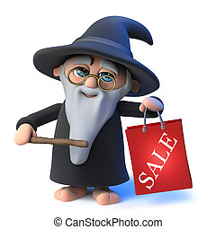 3d Funny cartoon wizard magician character holding a shopping sale bag