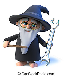 3d Funny cartoon wizard magician character holding a spanner tool