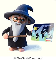 3d Funny cartoon wizard magician character pays with a debit...