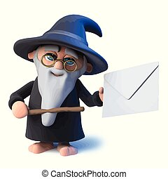 3d Funny cartoon wizard magician character points to an envelope with his magic wand