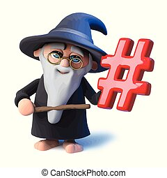 3d Funny cartoon wizard magician pointing a wand at a hashtag symbol