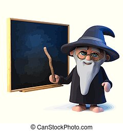 3d Funny cartoon wizard magician points to the blackboard with his magic wand