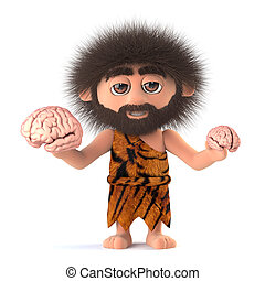 3d Funny caveman compares two human brains