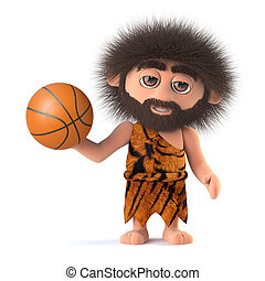 3d Funny caveman plays basketball - 3d render of a funny...