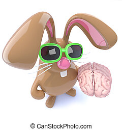 3d Funny chocolate Easter bunny rabbit holding a brain