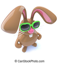 3d Funny chocolate Easter bunny rabbit with hands on hips