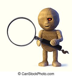 3d Funny Halloween Egyptian mummy monster has a magnifying glass