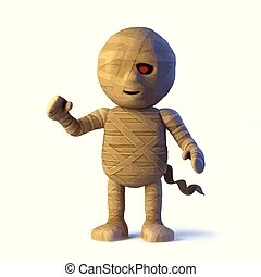 3d Funny Halloween Egyptian mummy monster waves a happy hello