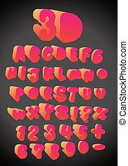 3D funny hand drawn font