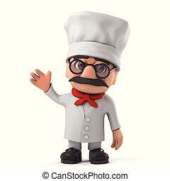 3d Funny Italian pizza chef character waves hello