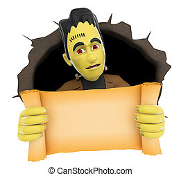 3D Funny monster coming out a wall hole with a blank papyrus. Halloween