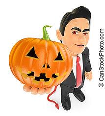 3D Funny monster. Devil with a big pumpkin. Halloween