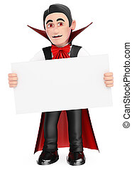 3D Funny monster. Vampire with a blank poster. Halloween