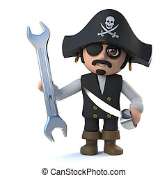 3d Funny pirate captain character holding a spanner