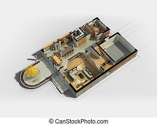 3D Furnished House
