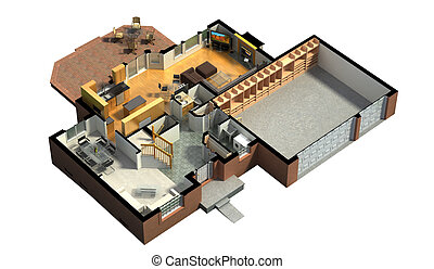 3D furnished house rendering