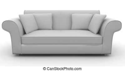 3d furniture detailed sofa isolated on white
