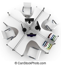 3d furniture office space with chair and LCD