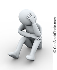3d furstrated and sad man - 3d illustration of sad person...