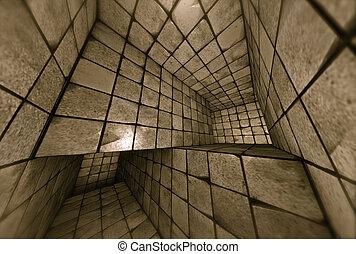 3d, futurista, embaldosado, mosaico, laberinto, interior