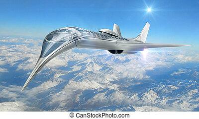 3D futuristic aircraft