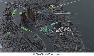 3D futuristic city architecture with skyscrapers and...