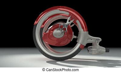 3D red futuristic concept vehicle