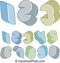 3d futuristic numbers set with lines textures.